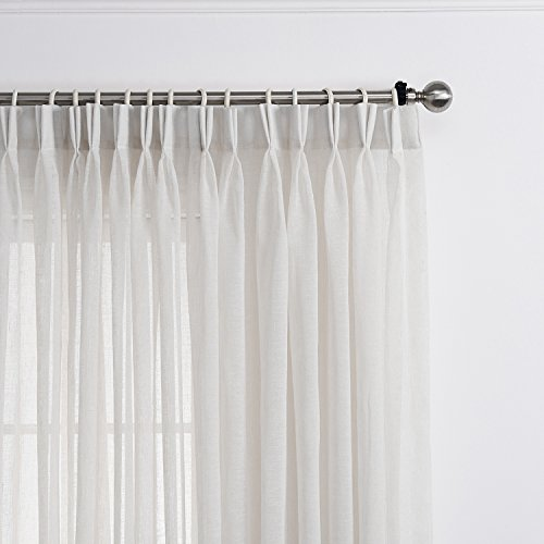 LANTIME Semi Sheer Curtains 84 inches Long, Faux Linen Double Pleated Window Sheer Curtains Panels Drapery for Home, Hotel, Office, Off White, 84 W x 84 L Inch Each, Set of 2