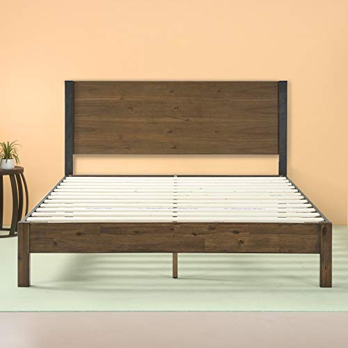 Zinus Cassandra 12 Inch Wood Platform Bed with Headboard, King