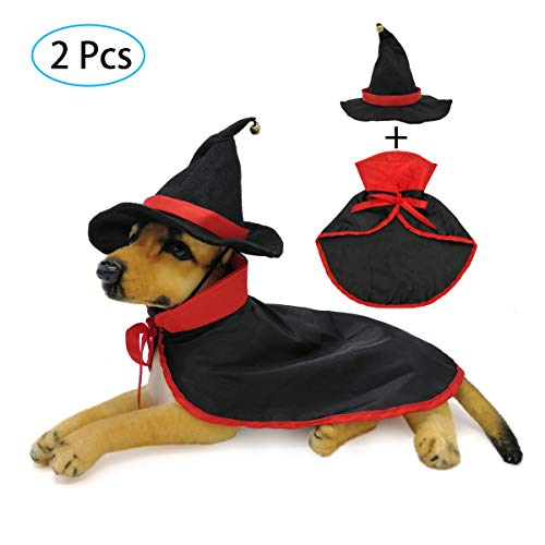 Strangefly Cat&Dog Halloween Costume,Vampire Cloak+Hat Apparel Suit,Holiday Cosplay,Party Dress Up,Cute,Funny and Cool,for Kitten Puppy Small Pet Clothes(2 Pack)