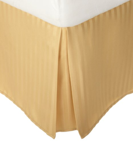 Stripe Gold Bed - 1500 Series 100% Microfiber Pleated King Bed Skirt Stripe, Gold - 15 Inch Drop and Wrinkle Resistant