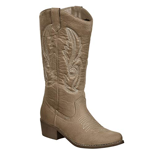 MVE Shoes Women's Modern Western Cowboy Distressed Boot with Pull-Up Tabs Taupe*c11