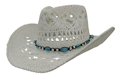 Straw Band - White Western Cowboy Hat w/Hat Band & Turquoise Blue Stone