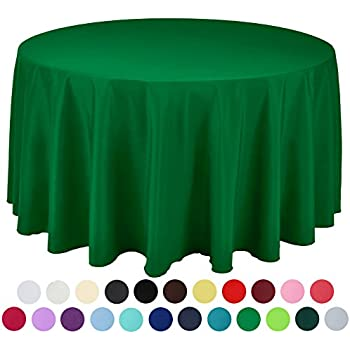 VEEYOO 120 Inch Round Solid Polyester Tablecloth For Wedding Restaurant  Party, Green