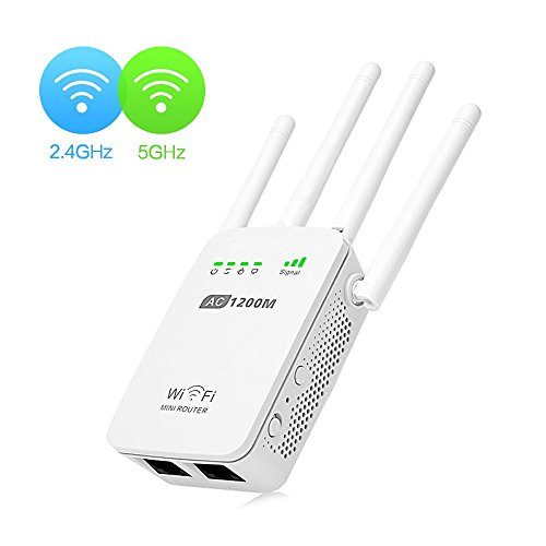 Wifi Repeater,KeepTpeeK 1200Mbps Wifi Range Extender 2.4GHz and 5GHz Signal Extenders Internet Booster Wireless Router Repeater Access Point 360 degree Wifi Booster Signal Amplifier with Four Antennas by KeepTpeeK