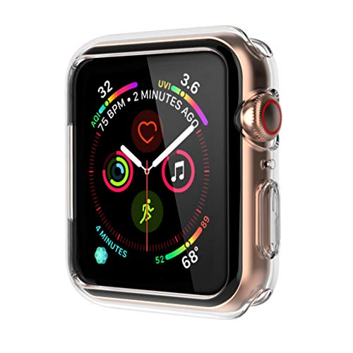 OUPODE Compatible with Apple Watch Case Series 4 44mm, Soft TPU Bumper Case Compatible with iWatch Cover, Replacement for Apple Watch Protector Series4, Clear
