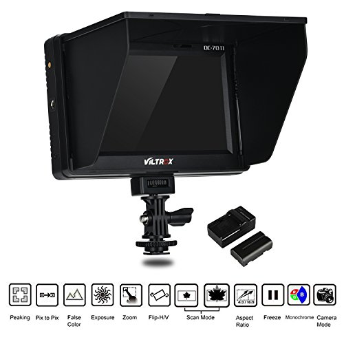 VILTROX DC-70 II 4K HDMI Field Monitor 7' TFT LCD HD Video Monitor HDMI AV Input 1024 600 for DSLR Camera Canon Nikon + Rechargeable NP-F550 Battery + Charger