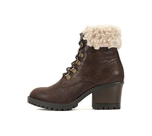 by Boots Weather Pu Multi Calf Toe Cliffs Brown Distressed Round Fur Womens Mid Mountain Cold White Trident dPxURfH