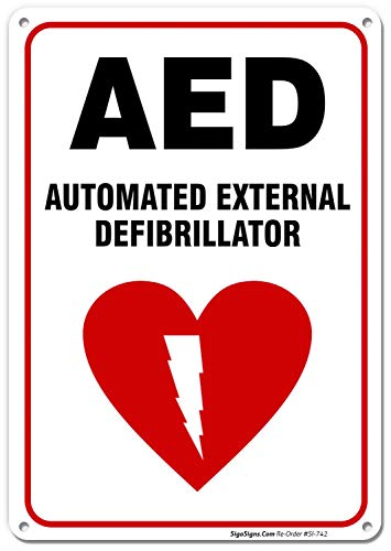 AED Sign, Automated External Defibrillator Sign, 10x7 Rust Free .040 Aluminum, UV Printed, Easy to Mount Weather Resistant Long Lasting Ink Made in USA by SIGO SIGNS