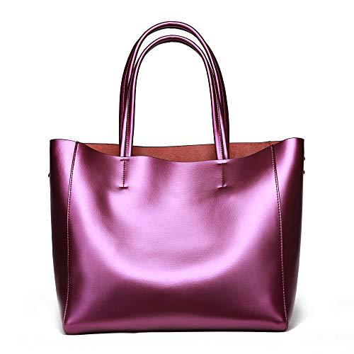 Tote Womens Fabric Handbag - Anynow Luxurious Women's Real Leather Handbag Fashion Cowhide Shoulder Bag Ladies Tote Bag(Purple)