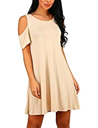 Women's Summer Cold Shoulder Tunic Top Swing T-Shirt...