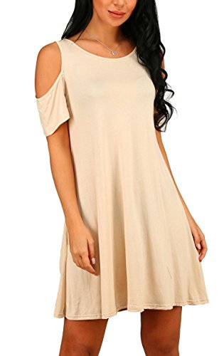 NELIUYA Women's Summer Cold Shoulder Tunic Top Swing Dresses Loose T-shirt Casual Dress With Pockets (Medium, Beige)