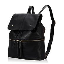 Hynes Victory Women Large Leather Daypack Backpack School Backpack Men Shoulder Bag Black
