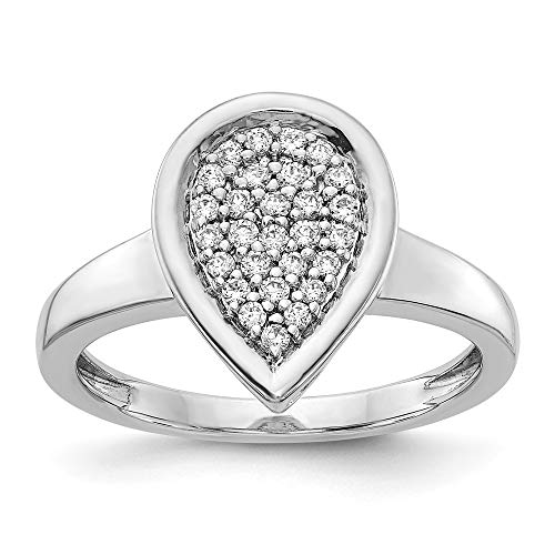 14K White Gold Diamond Fancy Teardrop Ring (0.244Cttw)
