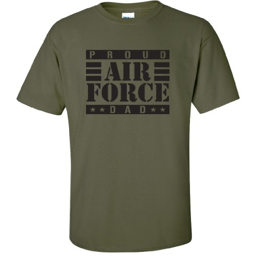 - Proud Air Force Dad Short Sleeve T-Shirt in Military Green - Medium