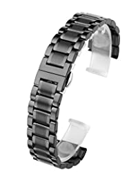 Top Plaza Black 22mm Solid Stainless Steel Straight End Link Bracelet Wrist Watch Band Strap Replacement Double Push Spring Butterfly Deployment Clasp 3 Rows Metal Strap