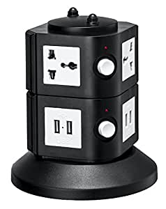 Universal Power Tower 4 Outlets + 8 USB - 100v / 220v/250v and 2550 Watts Surge Protector - With Circuit Breaker - For Worldwide Use - USA Plug