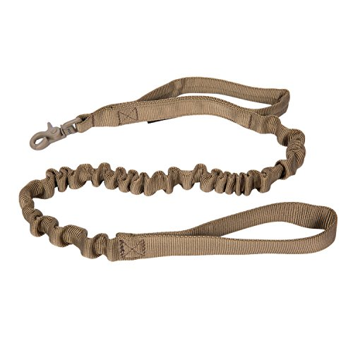 Pettom Military Tactical Dog Leash Short Nylon Bungee Traffic Quick Release Lead Rope with Control Handle for Large Dogs Hunting Training Jogging(Coyote Brown) by Pettom
