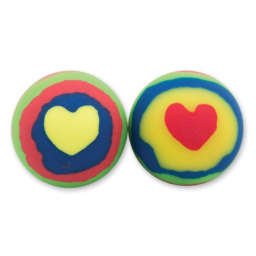 30mm Heart Rainbow Colored Bouncing Balls - 48 per - Colored Hearts Rainbow