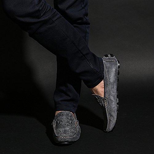 Zapatos Forma Hombre de Bajo Casual Cocodrilo con Conducir Mocasines de Gris Salvaje Zapatillas Icegrey Cuero La Cuero de Aa1q8qw