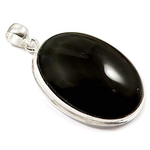 (GoyalCrafts Silver Plated Fashion Jewelry, Natural Rainbow Obsidian Gemstone Pendant GPN-16)