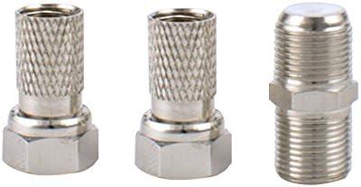 TOOGOO para Extender Cables de satelite Gemelos WF65, El Kit Contiene 4 Conectores F-Tipo y 2 F-acopladores