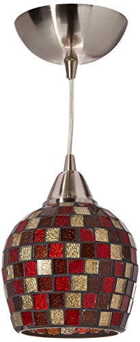 Fusion Pendant Light (Elk 528-1MLT-LED Fusion 1-LED Light Pendant with Multicolor Glass Shade, 5 by 7-Inch, Satin Nickel Finish)