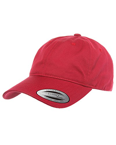 Yupoong Adult Low-Profile Cotton Twill Dad Cap OS CRANBERRY ()