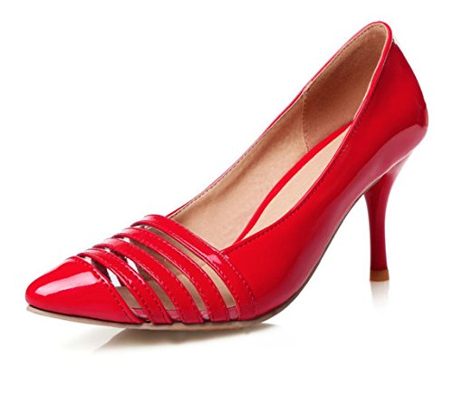 CSDM donne grandi dimensioni piccole scarpe Stiletto Heel Fashion Pointed Toe Sposa Scarpe Primavera E Estate Scarpe Singole , red , 36