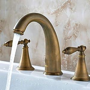 ZXUE Copper Three-Hole Faucet Hot and Cold Wash Basin Basin Faucet European Bathroom Split Bathroom Faucet