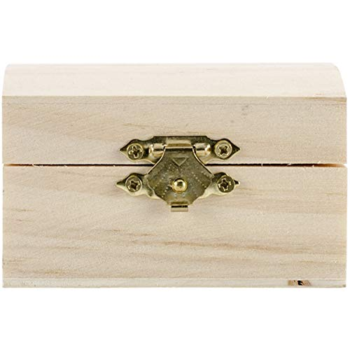 Darice Unfinished Wood Chest Box - Light Unfinished Wood with Curved Top and Clasp - Make Your Own Gift Box, Treasure Chest - Decorate with Paint, Stones, and More - 3.25