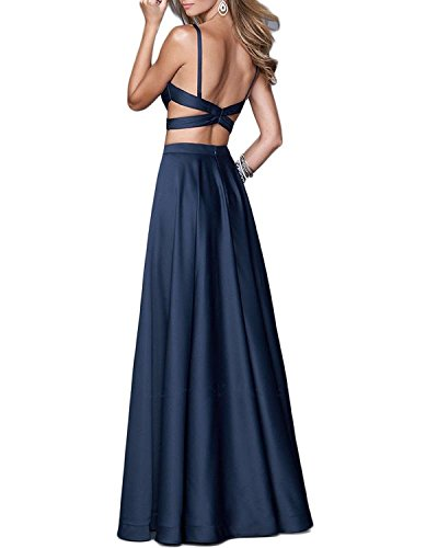Dresses Gowns Pieces BD068 Beaded BessDress Sexy Black Long Evening Prom Spaghetti Two 4BnxSqwZ