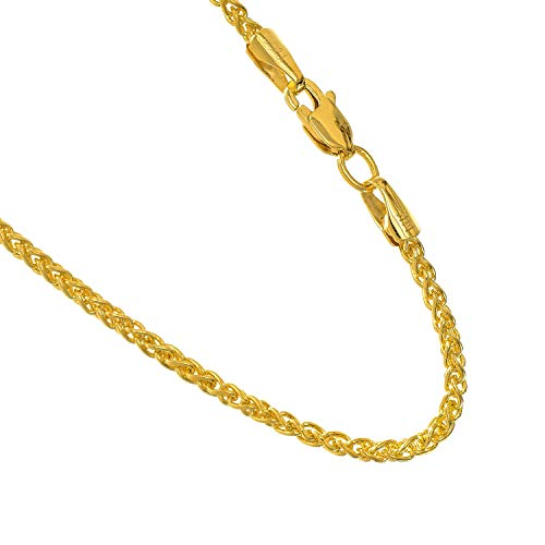 JewelStop 14k Solid Yellow Gold 1.5 mm Round Spiga Wheat Chain Necklace, Lobster Claw Clasp - 30'', 8gr. by JewelStop (Image #2)
