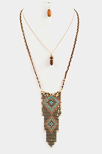 Charlie Brown Costume Pattern (GlitZ Finery Double Layered Gem Stone Accent Aztec Diamond Pattern Stone Drop (Brown))