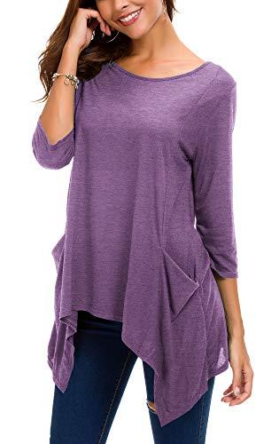 Lunga 4 Size Urban Con Goco 3 A Manica Tunica Maglietta Plus Purple Casual Heather Tasche Camicetta Donna PrT86qgP