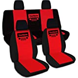 2011-2017 Jeep Wrangler JK Two-Tone Grill Seat Covers w Your Name/Text: Black & Red - Full Set: Front & Rear (21 Colors) 2012 2013 2014 2015 2016 2-Door/4-Door Complete Back Solid/Split Bench