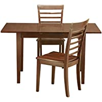 East West Furniture NOML3-MAH-W 3-Piece Kitchen/Dinette Table Set