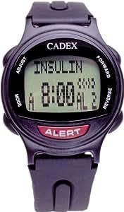 12 Alarm e-pill Medication Reminder Watch. CADEX Alarm Watch with Medical Alert Identification ID. BLACK watch.