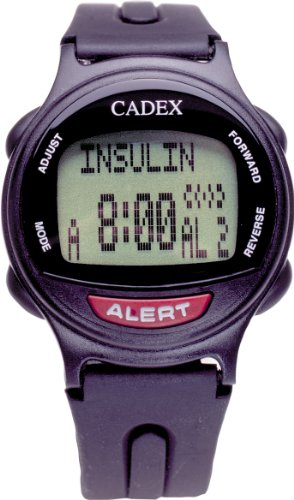 12 Alarm e-pill Medication Reminder Watch. CADEX Alarm Watch with Medical Alert Identification ID. BLACK watch. by e-pill Medication Reminders