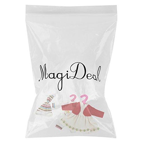 MagiDeal 3PCS Vêtement de Poupée Combinaison Chapeaux Robe en Tissu Décortion Pour 14-16 pouces Poupées Dolls Accessoires