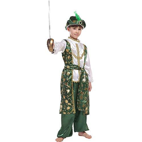 Children Halloween Arabian Prince Costume Boys Aladdin Fairytale Fancy Dress (8-10) Green -