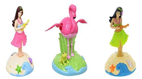 Solar-Powered Dancing Plastic Pink Flamingos & Hula Girls, 4 in. - Pack Of (Sway Hula Girl)