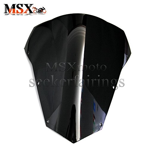 Yamaha Fz6 Windscreen - MSXmoto Windshield Windscreen Double Bubble For Yamaha FZ6 2003 2004 2005 2006 2007 2008 03 04 05 06 07 08 black