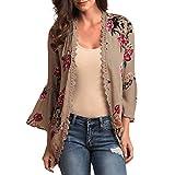 Womens Fashion Shawl Print Sleeve Lace Kimono Cardigan Cover Up Flare Sleeve Beachwear Blouse Top (Khaki,S)