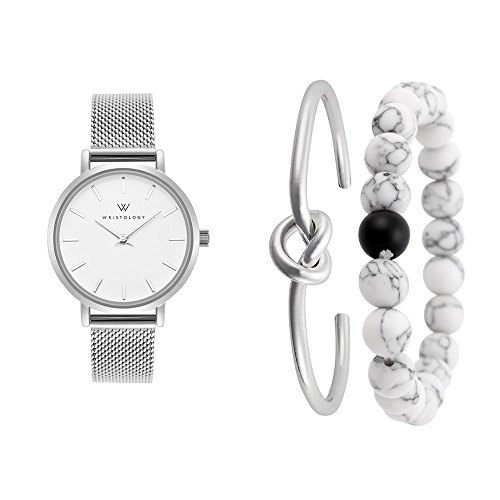 Silver Interchangeable Beaded Watch - WRISTOLOGY Charlotte Womens Watch and Bracelet Set in Silver Marble