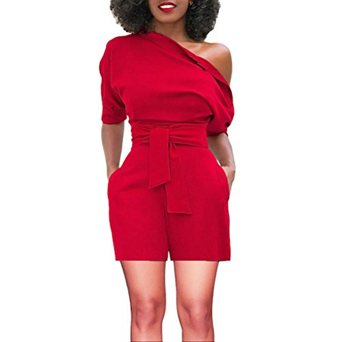 vermers Women's Short Romper - Sexy Off Shoulder Ruffle Fashion Casual Jumpsuit(XL, Red)