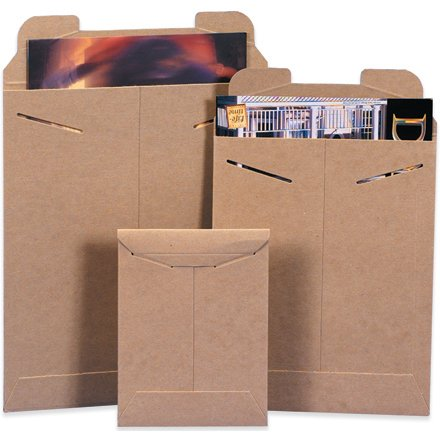 Kraft Case of 100 Aviditi RM5 Chipboard Flat Mailer 0.038 Thick 12-1//4 Length x 9-3//4 Width