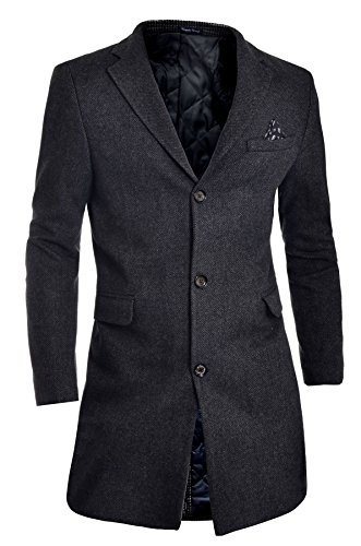 D&R Fashion Men's Winter Over Coat 3/4 Long Jacket Paisley Red Tweed Cashmere Soft (Cashmere Wool 3/4 Coat)