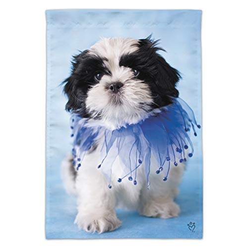 - Graphics and More Shih Tzu Puppy Dog Jester Blue Garden Yard Flag (Pole Not Included)