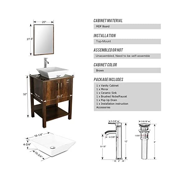 "eclife 24"" Bathroom Vanity Sink Combo Brown Cabinet Modern Stand Pedestal W/Square White Ceramic Vessel Sink, Chrome Bathroom Solid Brass Faucet and Pop Up Drain Combo, W/Mirror (A07 B12C) - ❤WATER SAVE: 1.5 GPM faucet aerator help to save 30% water; 3/8'' Connector Hot/Cold Water supply hose; 23-5/8"" Long water supply lines; Durable Chrome faucet; Pop up drain. ❤ECO-FRIENDLY: MDF eco-friendly material used to make vanity more durable and sturdy; 15mm Thickness and smooth surface board, easy to clean and wear-resistance. ❤EASY to INSTALL: Need to be self-assemble, delicate design make it easy to assemble; Small body includes maximized storage, more convenient and flexible for you to use. - bathroom-vanities, bathroom-fixtures-hardware, bathroom - 41xP06UtpaL. SS570  -"