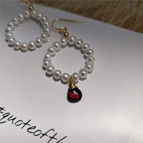 - Asymmetrical Garnet Earrings Freshwater Cultured Pearl 14K Gold Filled Ear Hooks And Wiring
